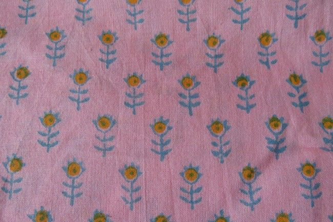 Rose Pink Block Print Indian Cotton Fabric