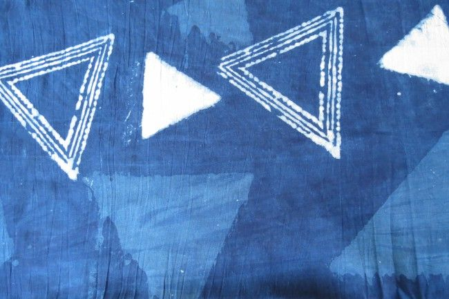 Indigo Triangle Block Printed Modal Fabric