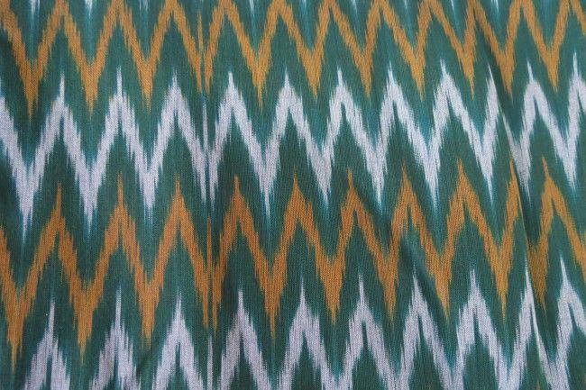 Dark Green Ikat Fabric By The Yard