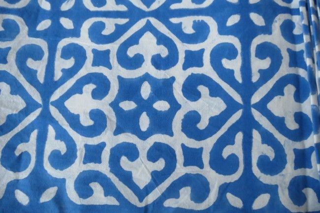 Blue And White Upholstery Cotton Fabric