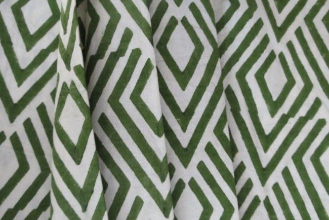 White And Green Upholstery Cotton Fabric