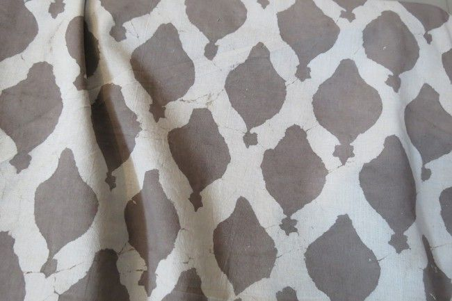 Kashish Grey And White Block Print Cotton Fabric
