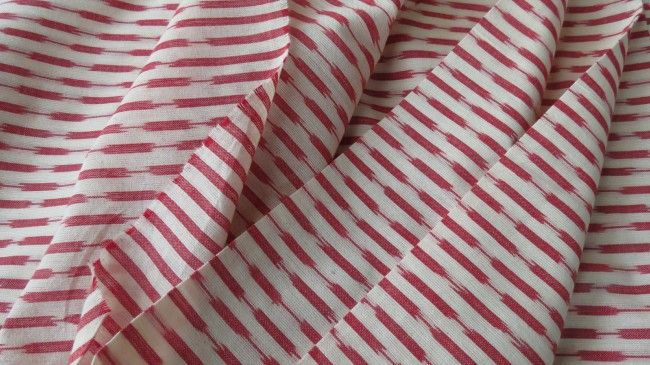 White And Red Ikat Fabric By The Yard