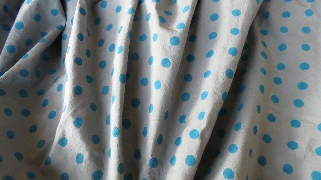 Grey And Blue Polka Dot Block Print Cotton Fabric