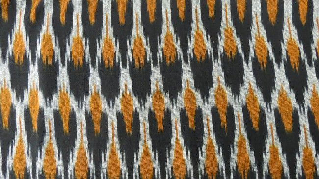 Black And Mustard Ikat Fabric By The Yard