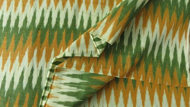 Green And Mustard Ikat Fabric Online
