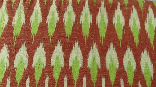 Green And Brown Ikat Fabric By The Yard