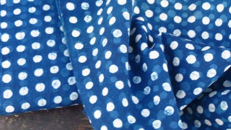 Indigo Spot Indian Block Print Fabric