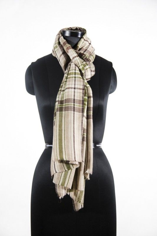 Brown Green Cashmere Scarf