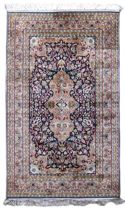 Kashmir Pure Silk Blue Handmade Rugs From India