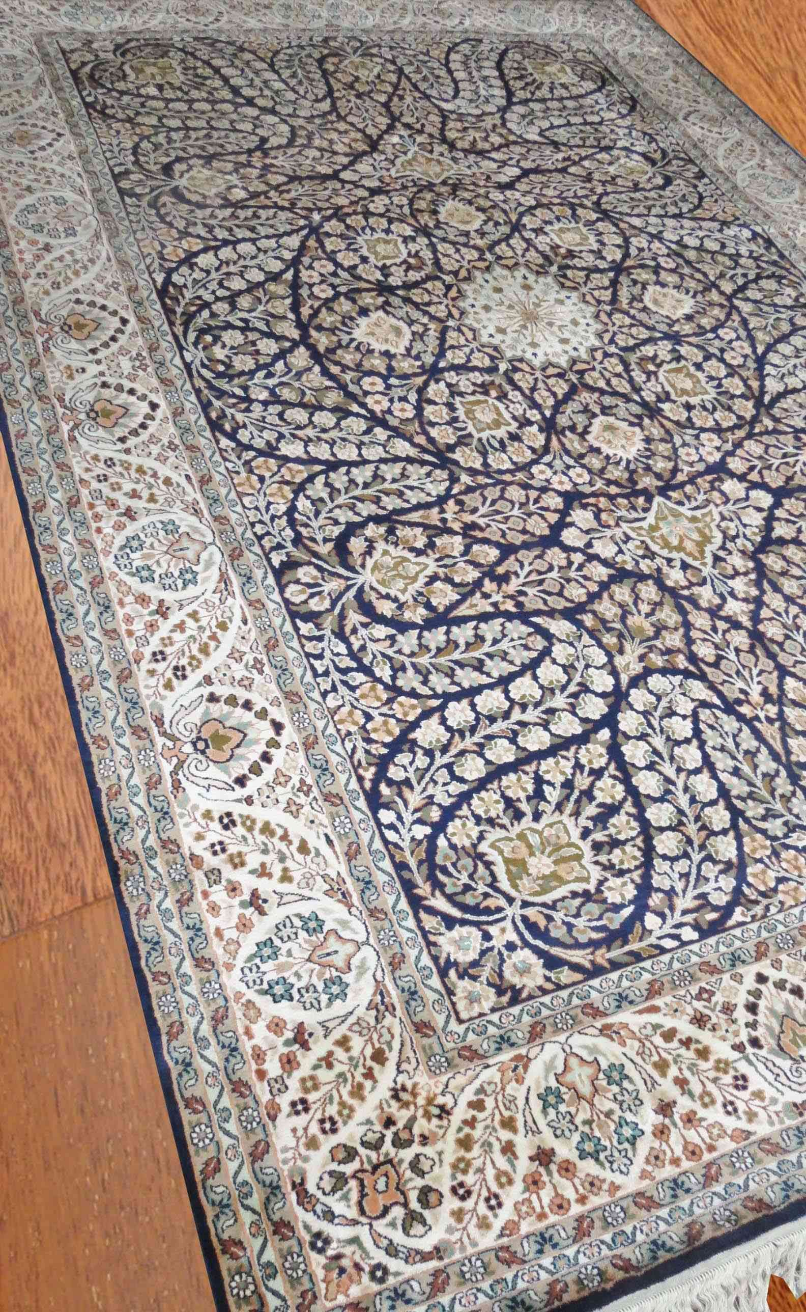 Kashmir Pure Silk Blue Indian Rug