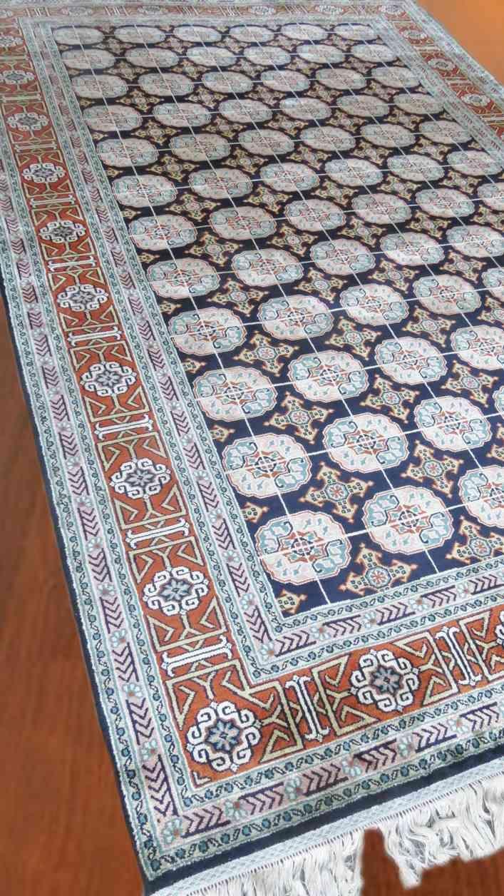 Kashmir Pure Silk Blue Tribal Rug