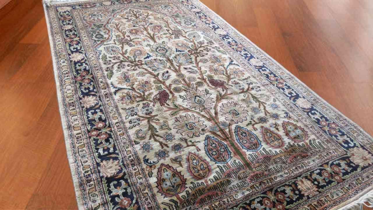 Kashmir Pure Silk Carpet Tree Of Life Design