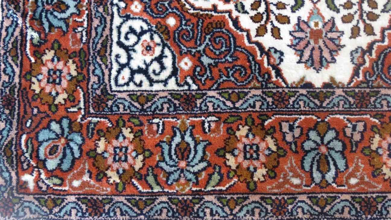 Kashmir Pure Silk Cream Persian Rug