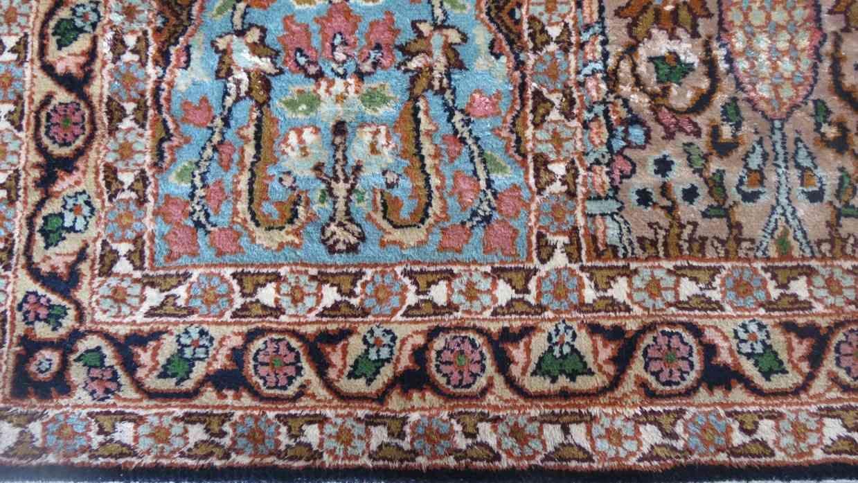 Kashmir Silk Blue Hamadan Rug