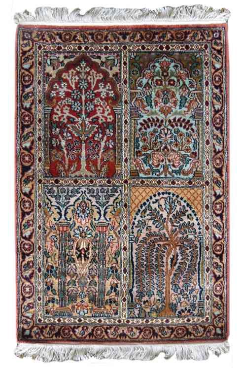 Kashmir Silk Rust Hamadan Rug