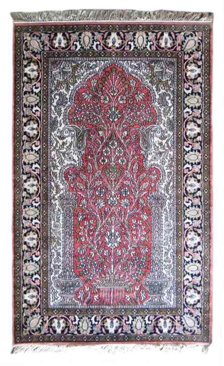 Mughal Garden Design Handmade Silk Rug
