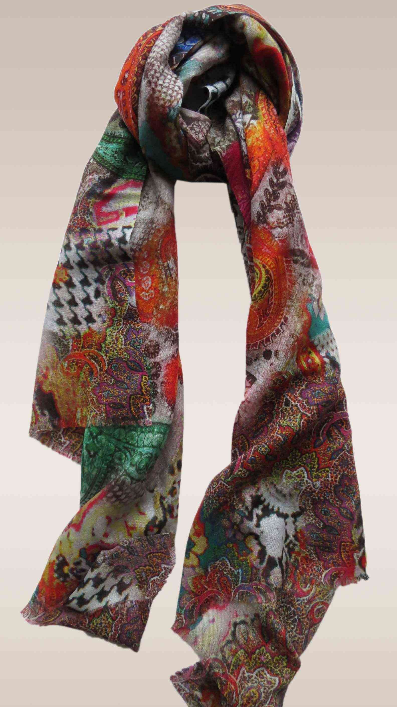 Multi Colour Paisley Design Wool Scarf
