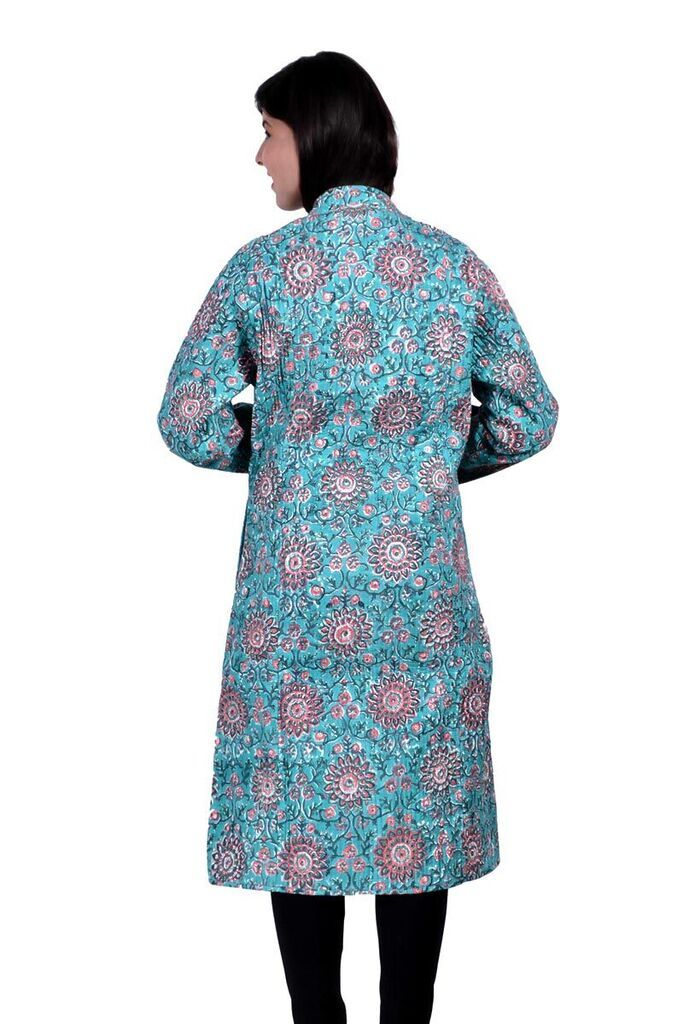 Sky Blue  Floral Reversible Long Quilted Jacket For Women