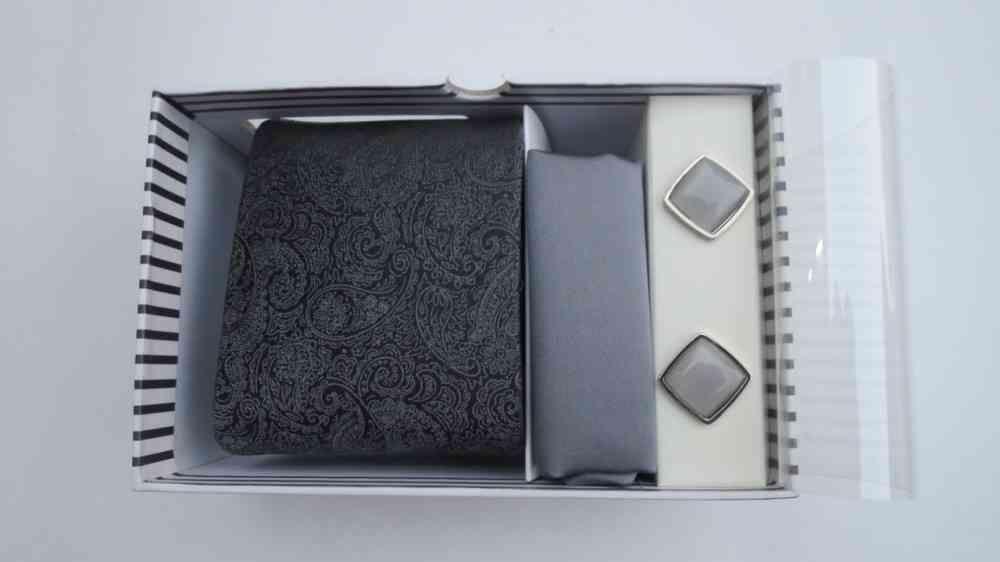 Paisley Design Grey Tie & Cufflinks Set