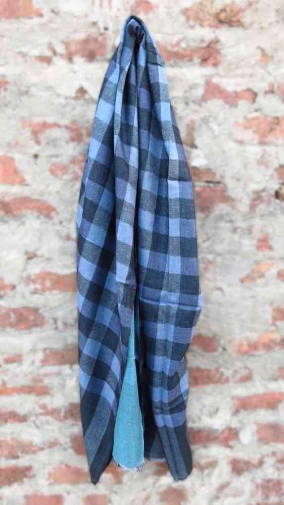 Polished Blue Reversible Checks 100% Wool Scarf