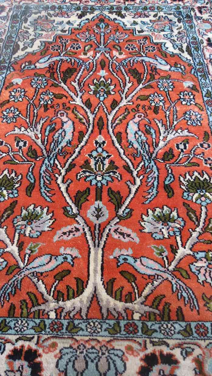 Pure Kashmir Silk Rug Tree Of Life Design