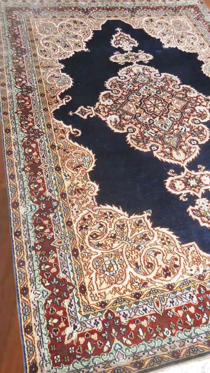 Pure Silk Blue Handmade Rugs From India