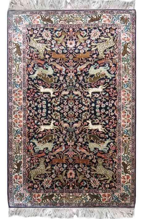 Pure Silk Jungle Design Indian Carpet