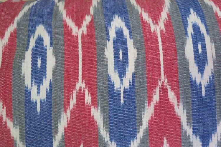 Tricolor Striped Upholstery Ikat Fabric By The Yard