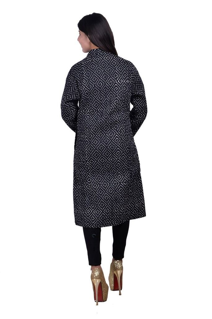 Black White Dotted Reversible Long Quilted Jacket For Women