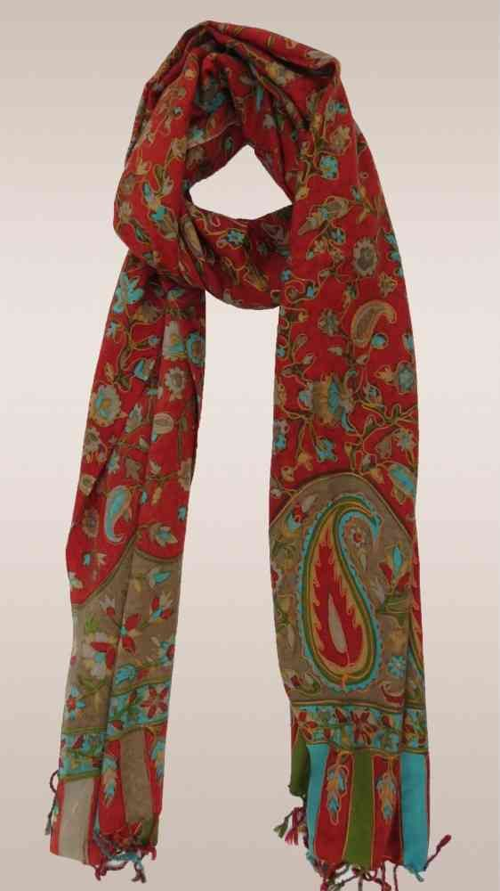Red Embroidered 100 Cashmere Scarf