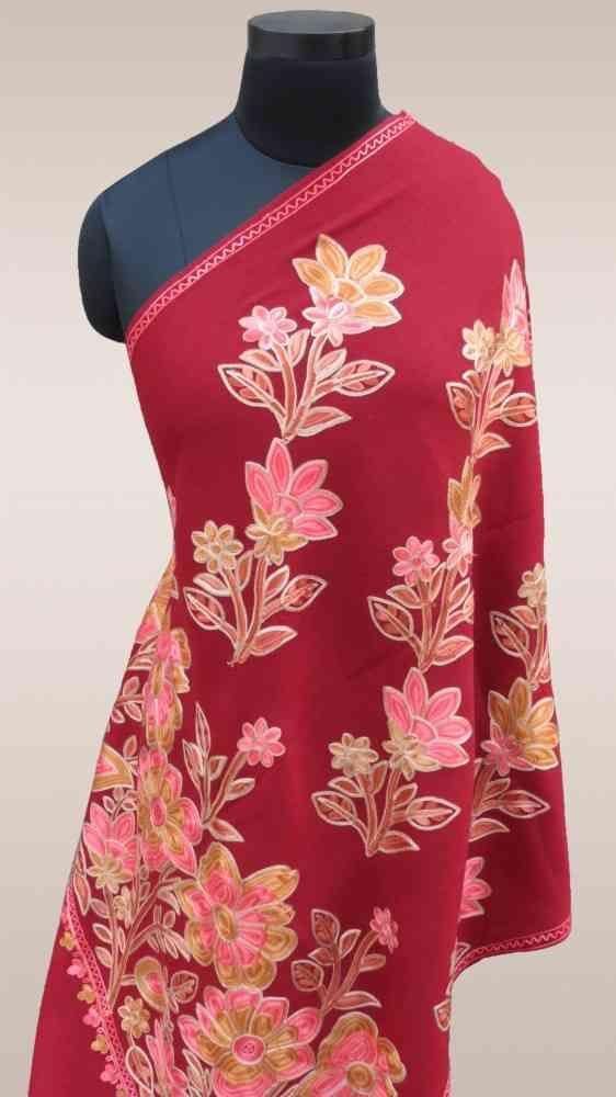 Red Floral Embroidered Indian Scarves Online