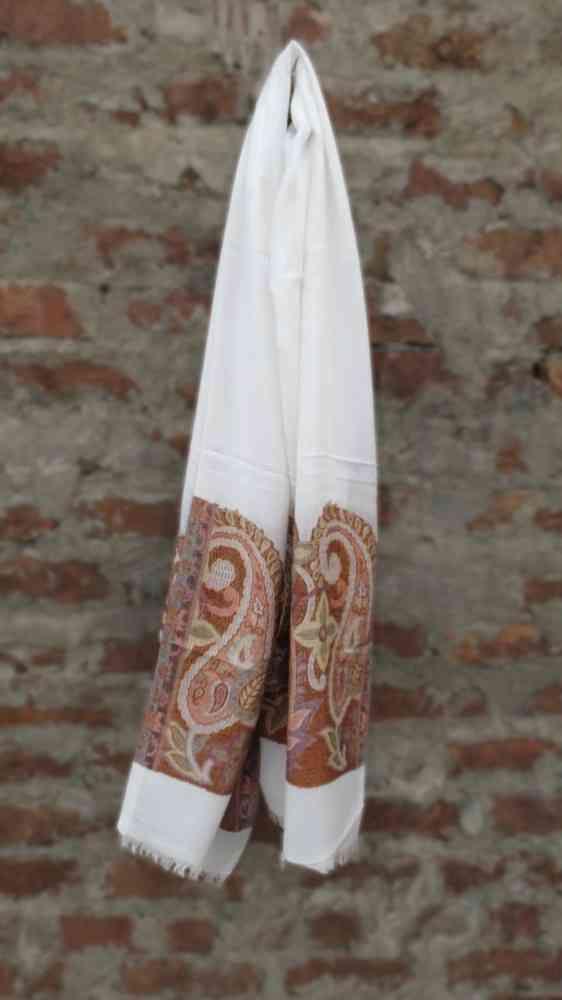 Self Design White Fashion Scarves For Women