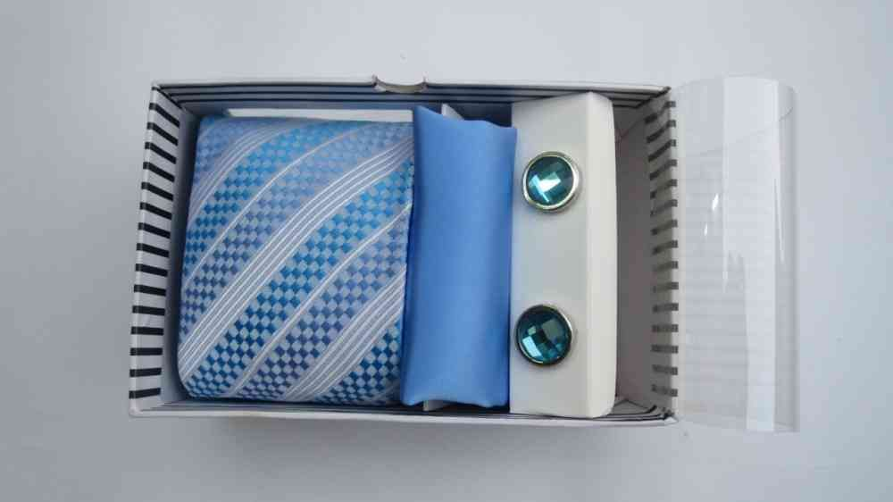 Tie, Cufflinks & Pocket Square Blue Set