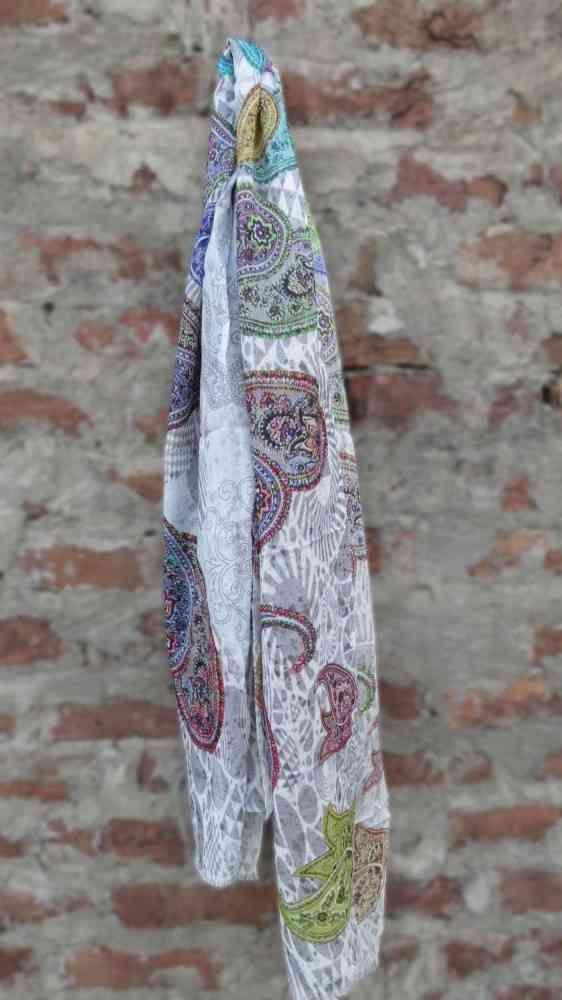 White Paisley Fashion Scarves For Women