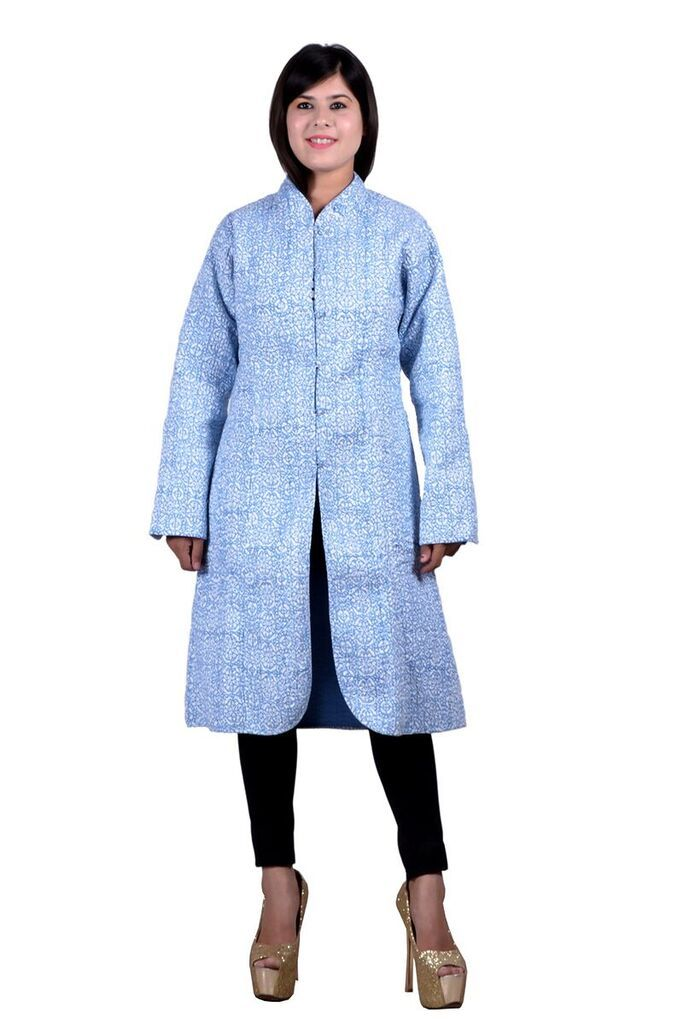 Blue Reversible Long Quilted Jacket For Women