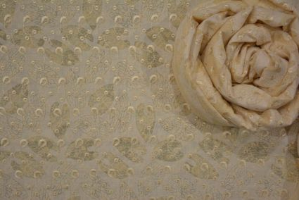 Cream Embroidered Printed Indian Soft Cotton Fabric