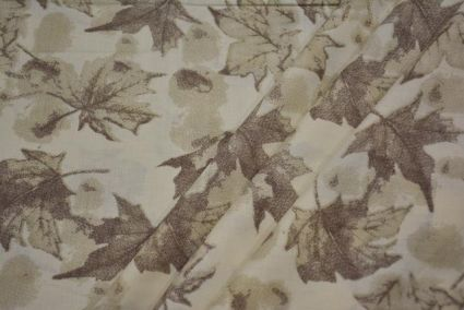Cream And Brown Floral Giza Shirt Fabric