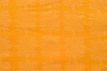 Yellow And White Khari Print Rayon Fabric