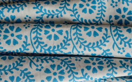 WHITE AND SKY BLUE FLORAL BLOCK PRINT FABRIC-HF543