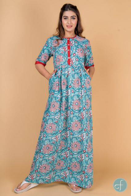 BLUE RED BLOCK PRINT NIGHT GOWN-NG4