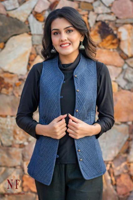 Denim Blue Reversible Cotton Quilted Short Jacket- NVQJ215