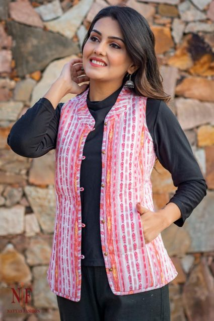 Pink Reversible Cotton Quilted Sleeveless Jacket- NVQJ223