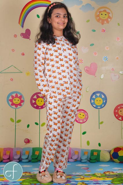 Dog Block Print Kids Cotton Night Suit