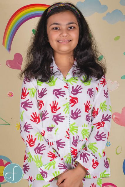 Hand Block Print Kids Cotton Night Suit