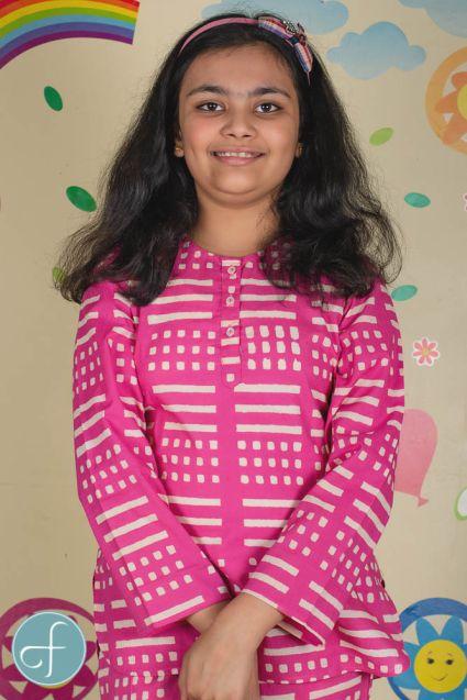 Pink Kids Cotton Night Suit