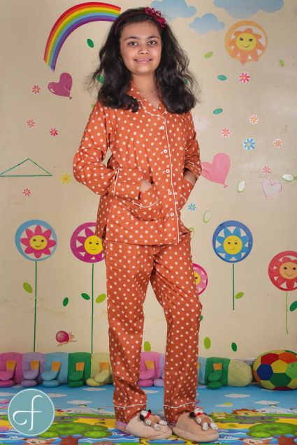 Chocolate Brown Kids Cotton Night Suit