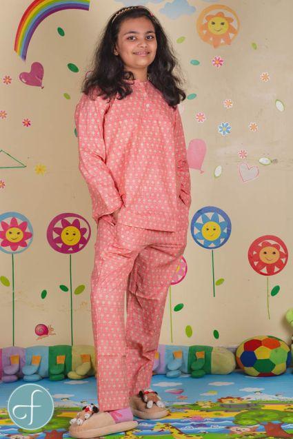 Peach Floral Block Print Kids Cotton Night Suit