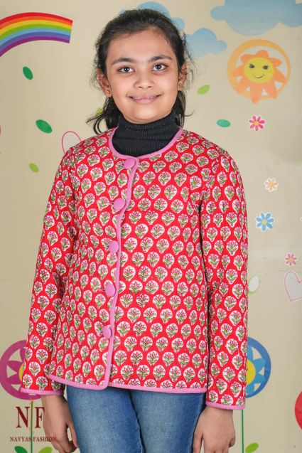 Pink Red Reversible Quilted Kids Jacket