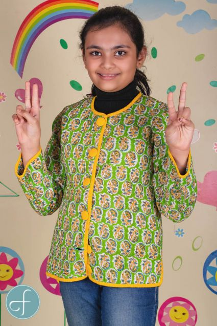 Blue Green Reversible Quilted Kids Jacket